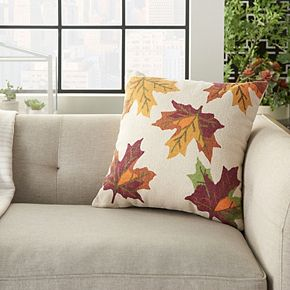 Mina Victory Home For The Holiday Leaves Multicolor Throw Pillow