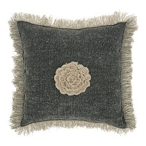Mina Victory Life Styles Crochet Flower Charcoal Throw Pillow