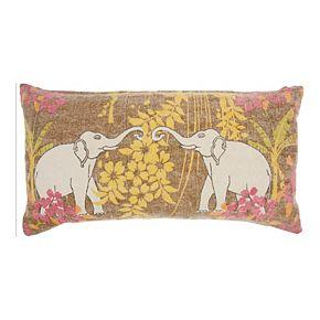 Mina Victory Life Styles Lucky Elephants Multicolor Throw Pillow