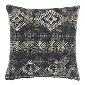 Mina Victory Life Styles Distress Diamonds Charcoal Throw Pillow