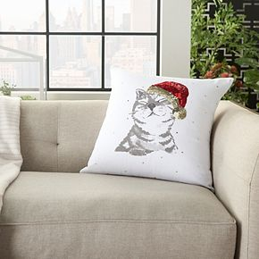 Mina Victory Holiday Cat White Christmas Throw Pillow