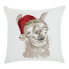 Mina Victory Holiday Llama White Christmas Throw Pillow