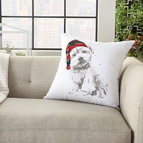 Mina Victory Holiday Dog White Christmas Throw Pillow