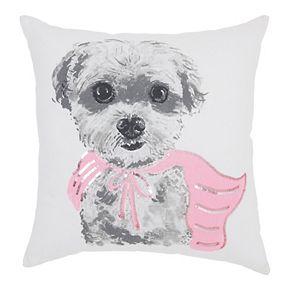 Mina Victory Trendy, Hip, New-Age Super Dog White Throw Pillow
