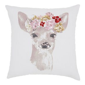 Mina Victory Trendy, Hip, New-Age Floral Fawn White Throw Pillow