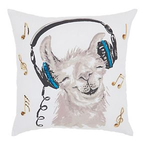 Mina Victory Trendy, Hip, New-Age Rockin' Llama White Throw Pillow