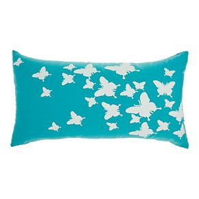 Mina Victory Raised Butterfly Indoor/Outdoor Turquoise Throw Pillow