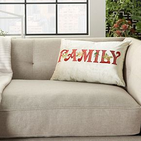 """Mina Victory Embroidered """"Family"""" Beige Christmas Throw Pillow"""
