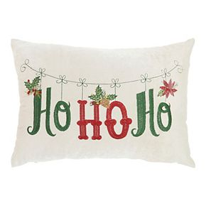 "Mina Victory Embroidered ""Ho Ho Ho"" Beige Christmas Throw Pillow"