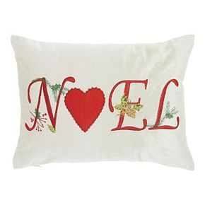 """Mina Victory Embroidered """"Noel"""" Beige Christmas Throw Pillow"""