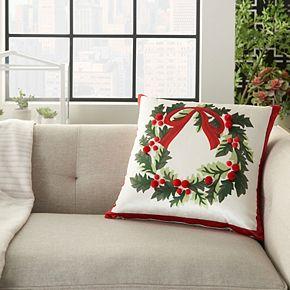 Mina Victory Wreath Multicolor Christmas Throw Pillow