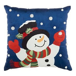 Mina Victory Juggling Snowman Multicolor Christmas Throw Pillow