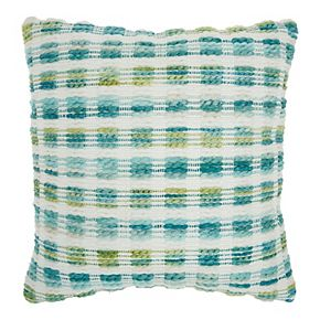 Mina Victory Woven Space dye Grid Indoor/Outdoor Turquoise Green Throw Pillow