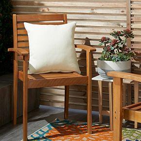 Mina Victory Herringbone Solid Indoor/Outdoor Ivory Throw Pillow