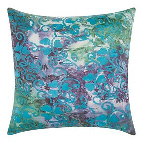 Mina Victory Floral Watercolor Multicolor Outdoor Throw Pillow