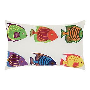 Mina Victory Six Tropical Fish Multicolor Outdoor Throw Pillow