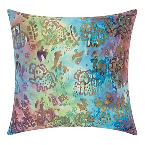 Mina Victory Watercolor Elephants Multicolor Outdoor Throw Pillow