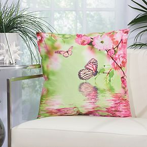 Mina Victory Butterfly Reflection Multicolor Outdoor Throw Pillow