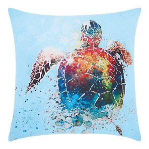 Mina Victory Watercolor Sea turtle Multicolor Outdoor Throw Pillow