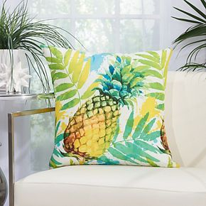 Mina Victory Watercolor Pineapple Multicolor Outdoor Throw Pillow