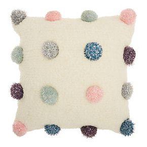 Mina Victory Shag Shimmer Pom Poms Multicolor Throw Pillow