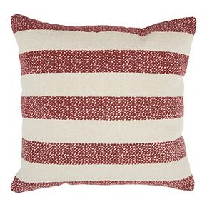 Mina Victory Life Styles Printed Stripes Red Throw Pillow