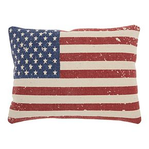 Mina Victory Life Styles American Flag Print Multicolor Throw Pillow