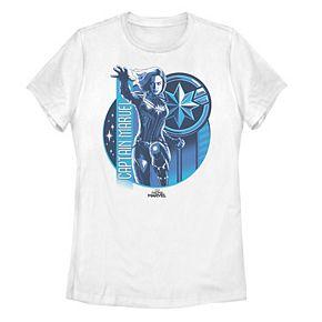 Juniors' Marvel Captain Marvel Blue Hue Logo Portrait Tee