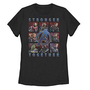 """Juniors' Marvel Avengers Endgame """"Stronger Together"""" Portrait Grid Tee"""