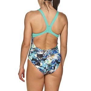 Plus Size Arena Swim Pro Floral Dots Racerback Swimsuit