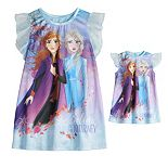 Disney's Frozen 2 Toddler Girl Elsa & Anna Night Gown & Matching Doll Night Gown Set