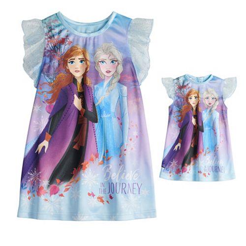 Disney's Frozen 2 Toddler Girl Elsa & Anna Night Gown & Matching Doll Night Gown Set