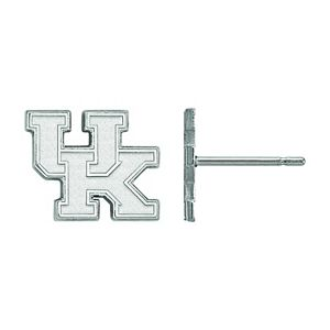 LogoArt 10K White Gold Kentucky Wildcats Post Earrings
