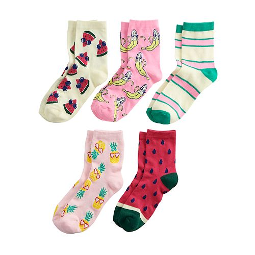 Girls 6-11 Pink Cookie 5-Pack Fruit-Theme Crew Scented Socks