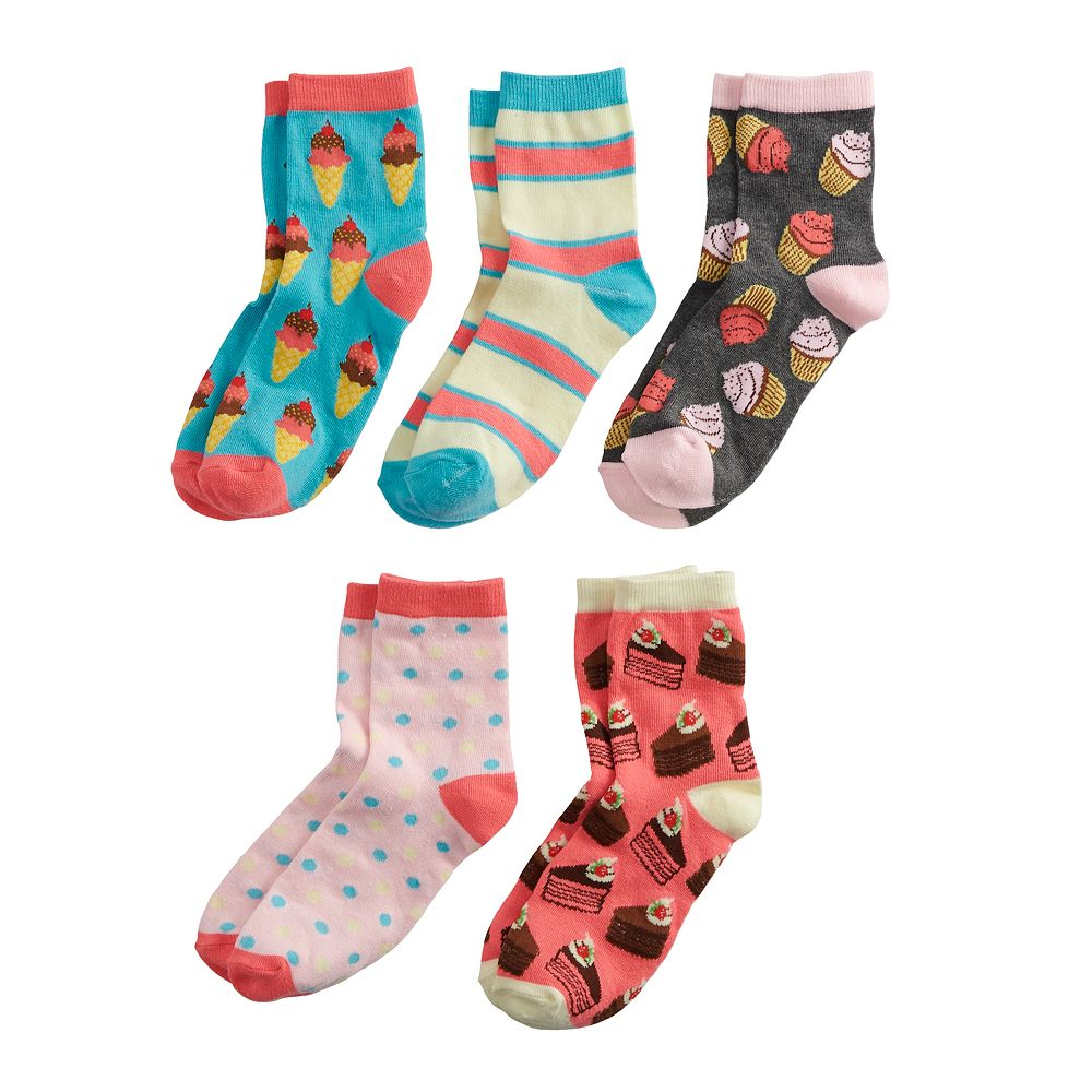 Girls 6-11 Pink Cookie 5-Pack Scented Deserts Ankle Socks