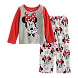 Disney's Minnie Mouse Toddler Girl 2 Piece Pajama Top & Fleece Pants Set