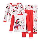 "Disney's Minnie Mouse Toddler Girl ""Oh Joy!"" Christmas 4 Piece Pajamas Set"