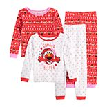 "Toddler Girl Sesame Street Elmo ""Santa's Helper"" 4 Piece Pajama Set"