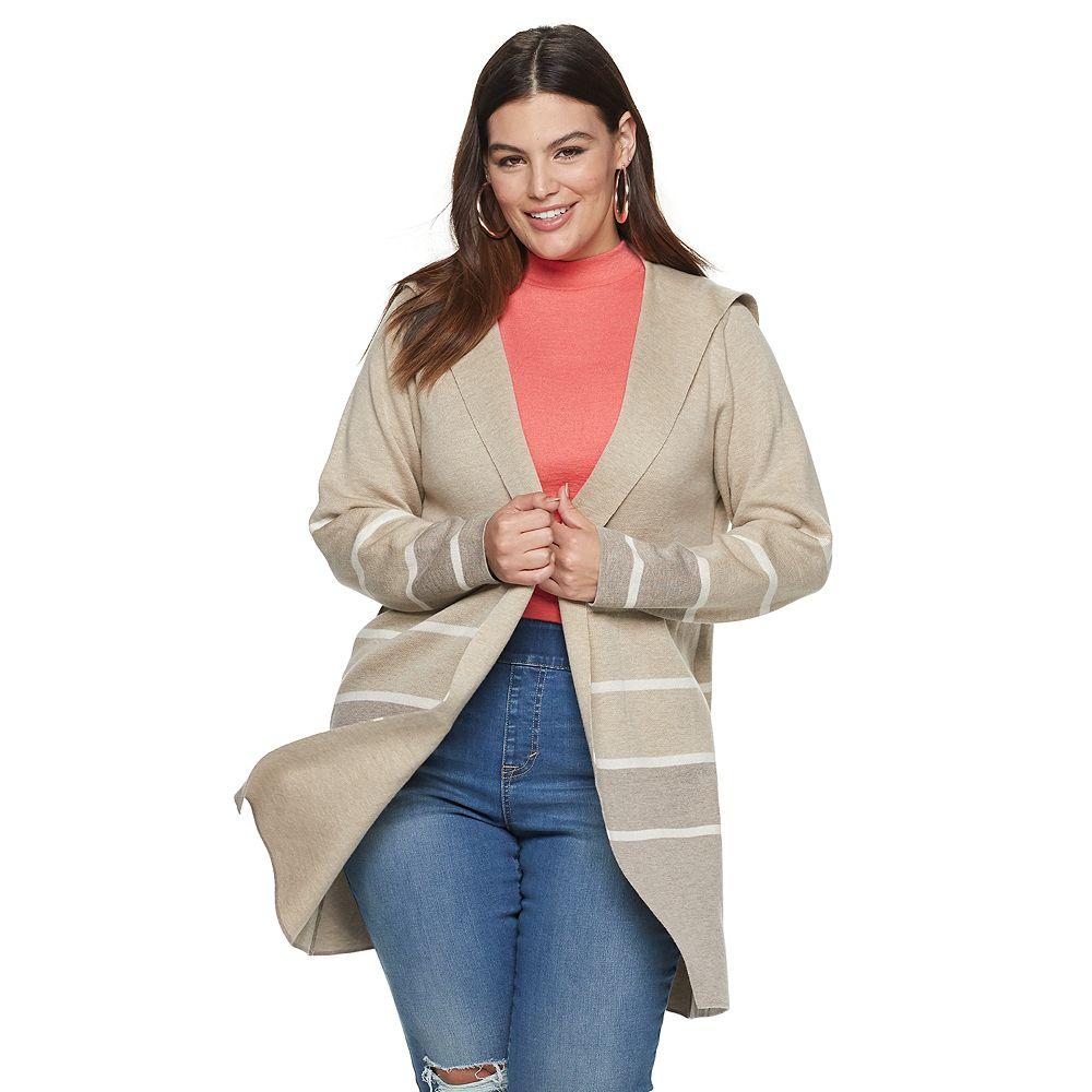 Plus Size Apt. 9® Striped Car Coat Cardigan