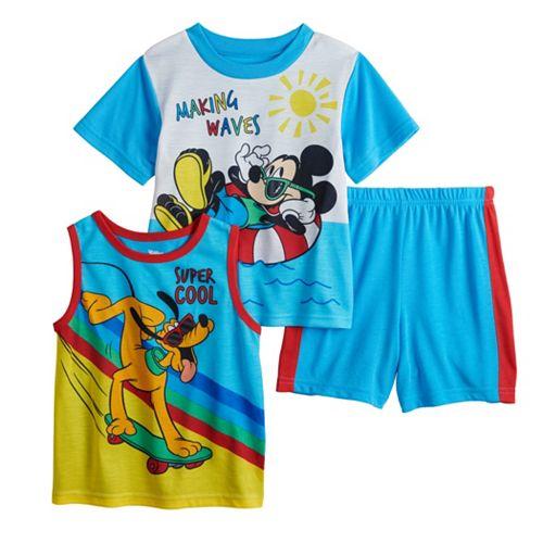 "Disney's Mickey Mouse & Pluto Toddler Boy 3 Piece ""Making Waves"" Pajama Set"