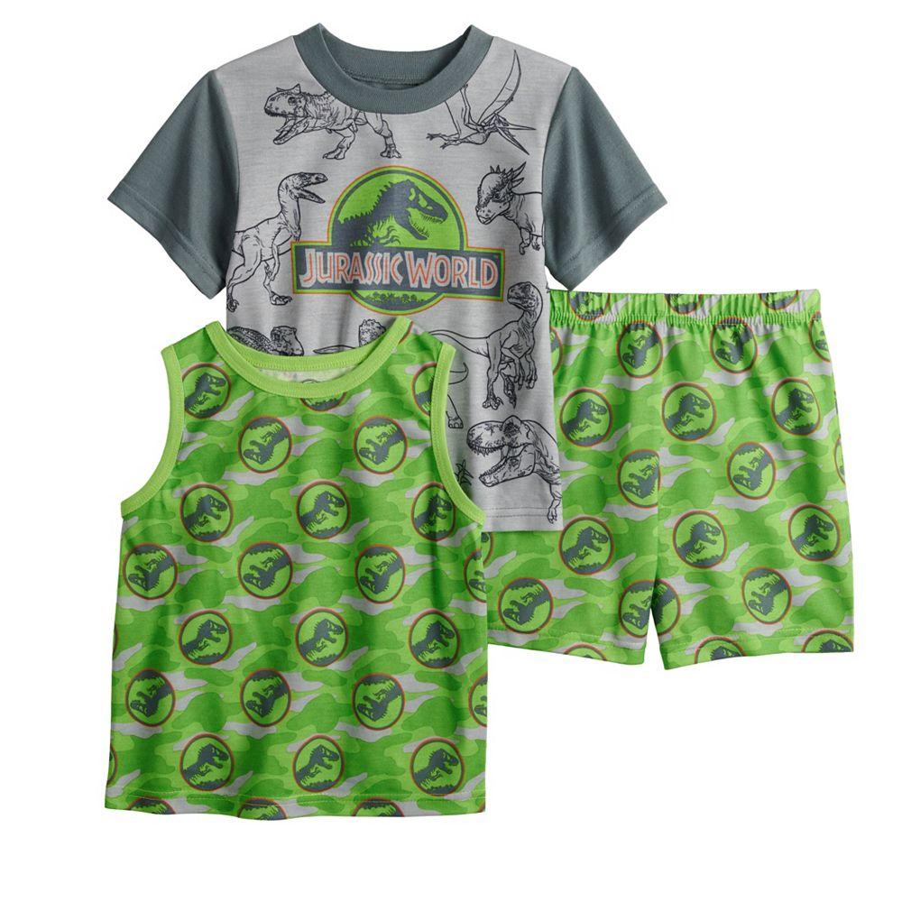 Toddler Boy Jurassic World 3 Piece Top, Tee & Shorts Pajama Set