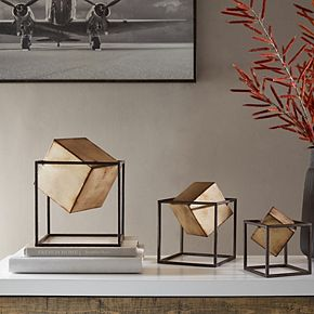 Madison Park Asher Gold Cube Decor 3-piece Set