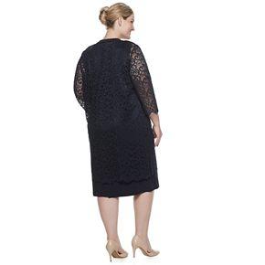 Plus Size Maya Brooke V-Neck Dress & Lace Duster Jacket Set