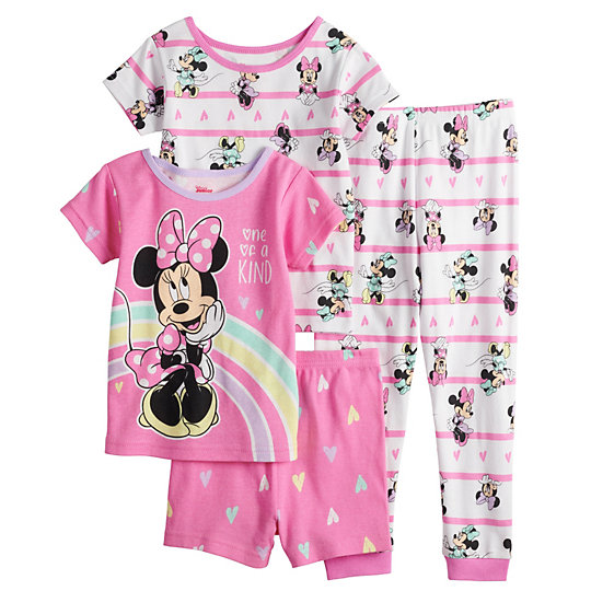 Girls Size 4-3 Piece Tshirt//Tank//Shorts Set Minnie Love Yellow//Pink