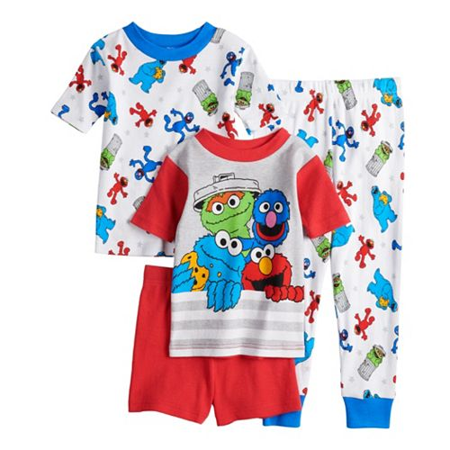 Baby//Toddler Sesame Street Gang Elmo Boys Girls 4 Piece Cotton Pajamas Set