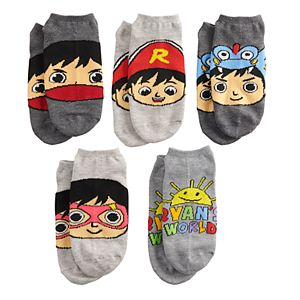 Boys 4-20 Ryan's World 5-Pack No-Show Socks