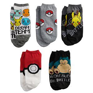 Boys Pokemon 5-Pack No-Show Socks