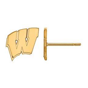 LogoArt 14k Gold over Sterling Silver Wisconsin Badgers Post Earrings
