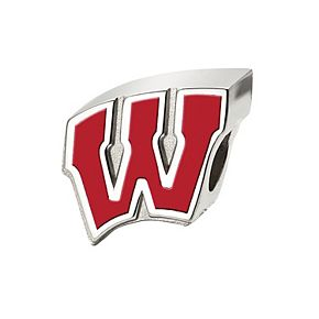 LogoArt Sterling Silver Wisconsin Badgers Enameled Logo Bead