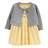 Baby Girl Carter's 2-Piece Geo Print Bodysuit Dress & Cardigan Set